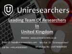 leading team of researchers in united kingdom