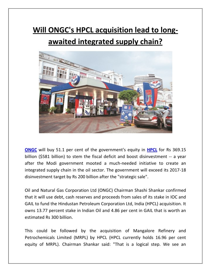 will ongc s hpcl acquisition lead to long awaited n.