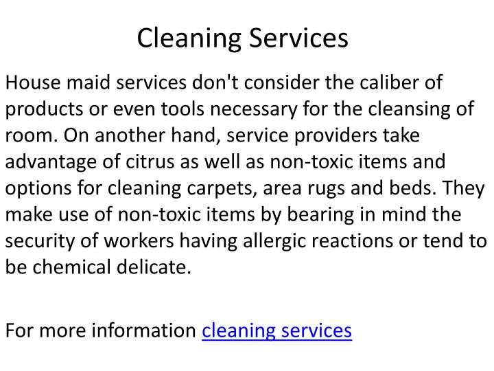 cleaning services n.