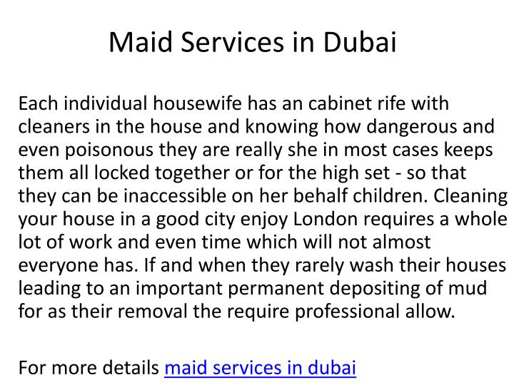 maid services in dubai n.