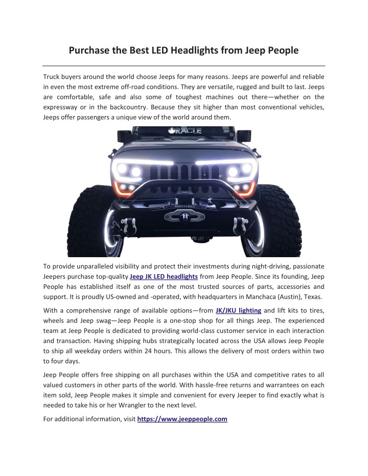 purchase the best led headlights from jeep people n.