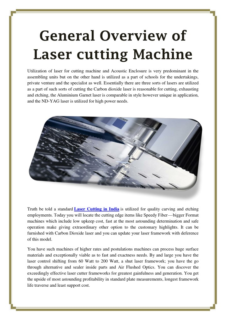 general overview of laser cutting machine n.