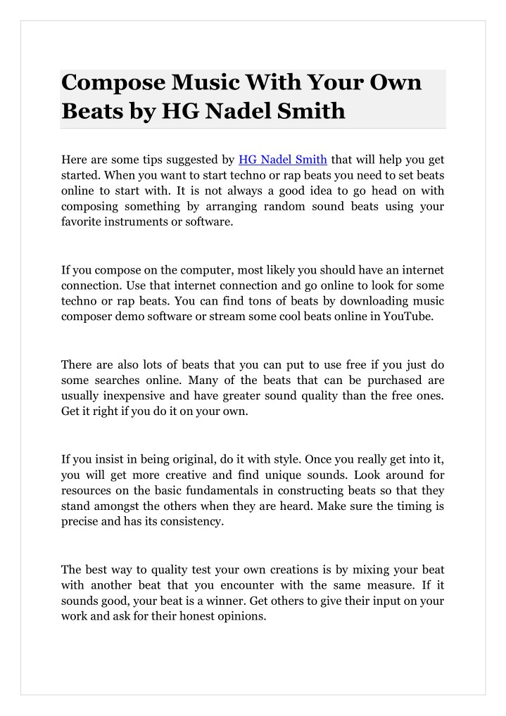 compose music with your own beats by hg nadel n.