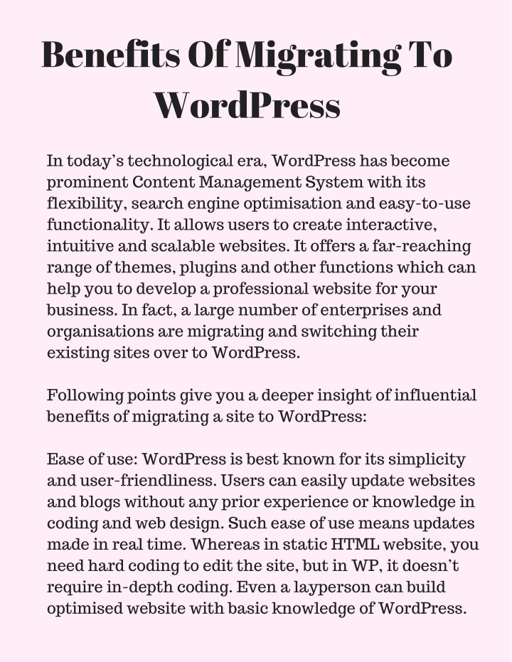 benefits of migrating to wordpress n.