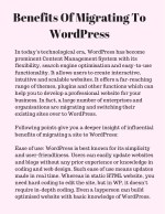 benefits of migrating to wordpress