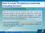 how to locate the optimum leadership consulting 2