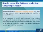 how to locate the optimum leadership consulting 6