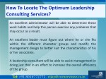 how to locate the optimum leadership consulting 8