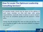 how to locate the optimum leadership consulting 9