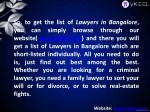 so to get the list of lawyers in bangalore
