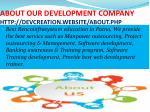 about our development company http devcreation website about php