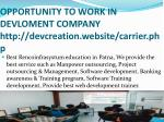 opportunity to work in devloment company http devcreation website carrier php
