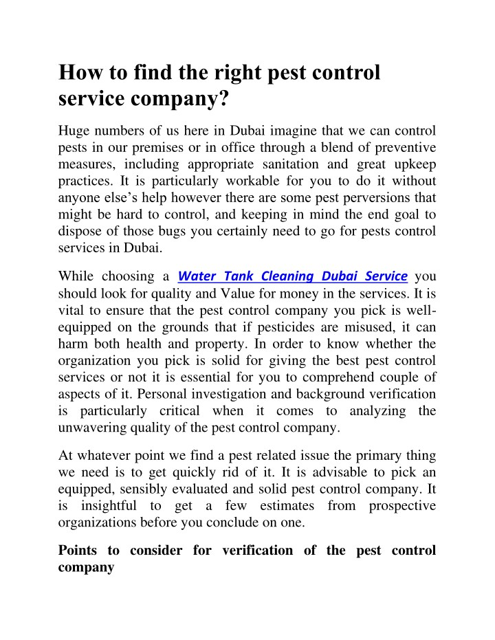 how to find the right pest control service company n.