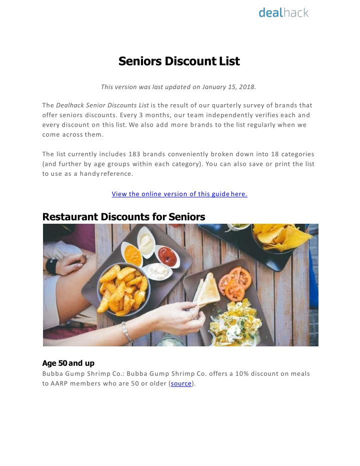 seniors discount list this version was last n.