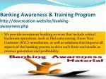 banking awareness training program http devcreation website banking awareness php