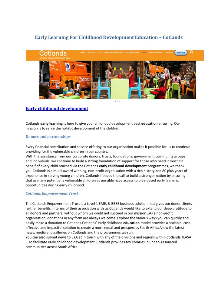 early learning for childhood development n.