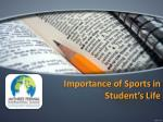importance of sports in student s life