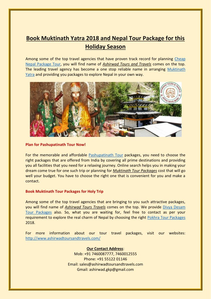 book muktinath yatra 2018 and nepal tour package n.