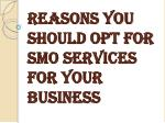 reasons you should opt for smo services for your business