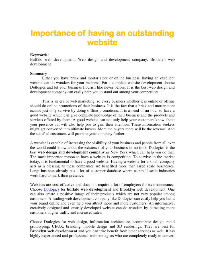 importance of having an outstanding importance n.
