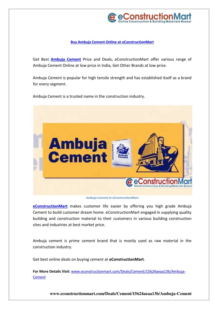 buy ambuja cement online at econstructionmart n.