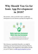 why should you go for ionic app development in 2018