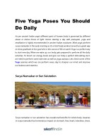 five yoga poses you should do daily