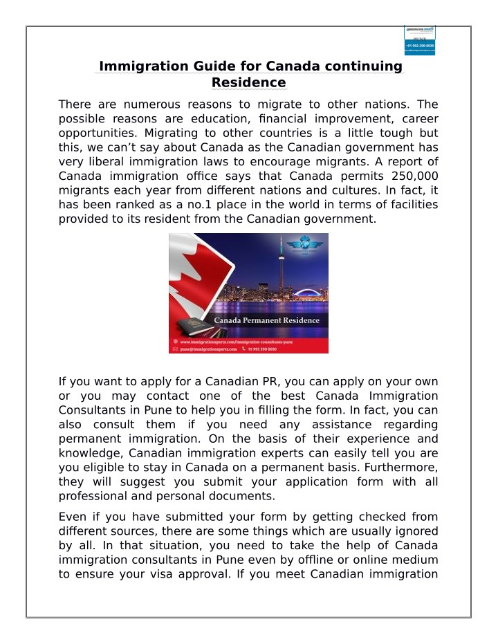 immigration guide for canada continuing residence n.
