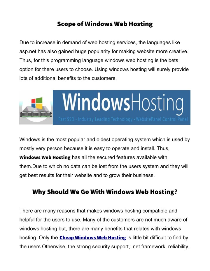scope of windows web hosting n.
