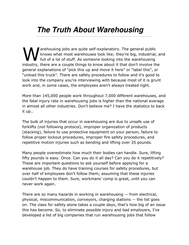 the truth about warehousing w n.