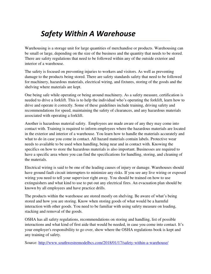 safety within a warehouse n.