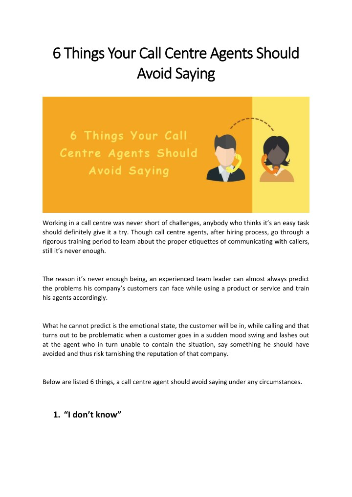 6 6 things your call centre agents should things n.