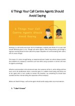 6 6 things your call centre agents should things