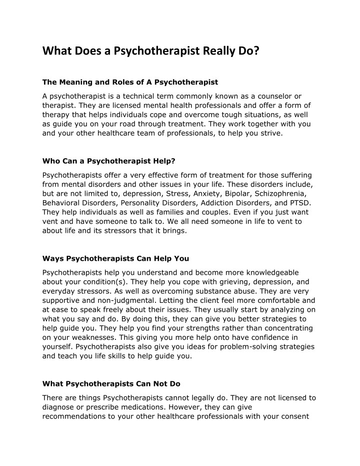 what does a psychotherapist really do n.