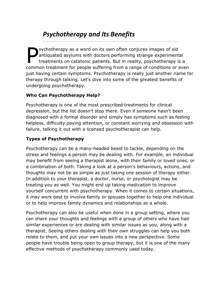 psychotherapy and its benefits p n.