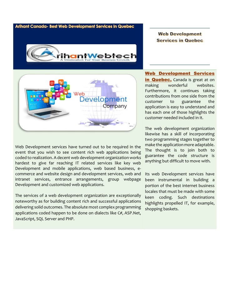web development services in quebec canada n.