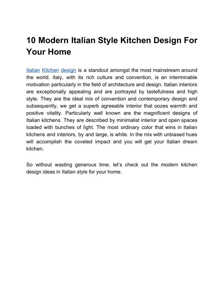 10 modern italian style kitchen design for your n.