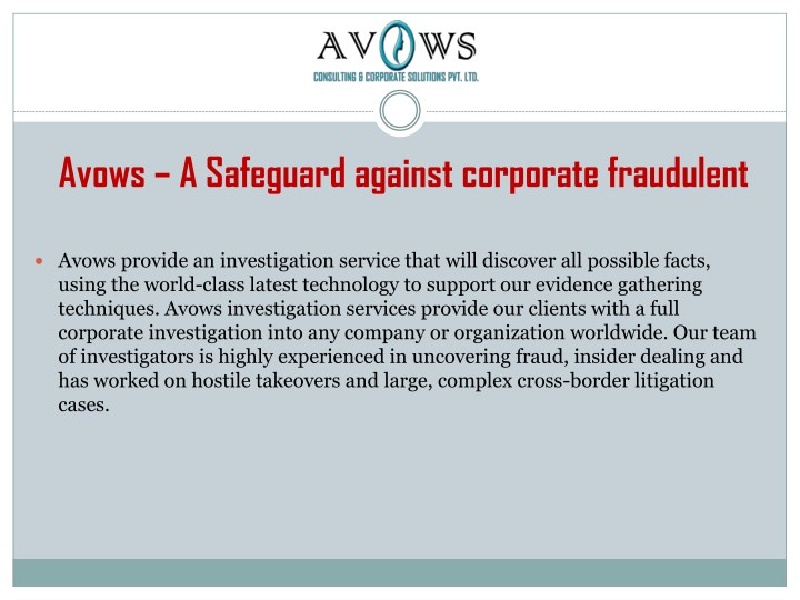 avows a safeguard against corporate fraudulent n.