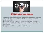 b2b audits and investigations