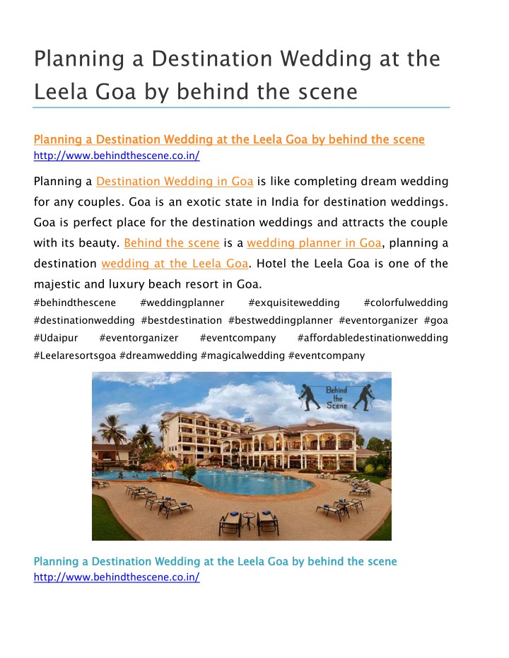 Ppt planning a destination wedding at the leela goa by for Destination wedding planning guide