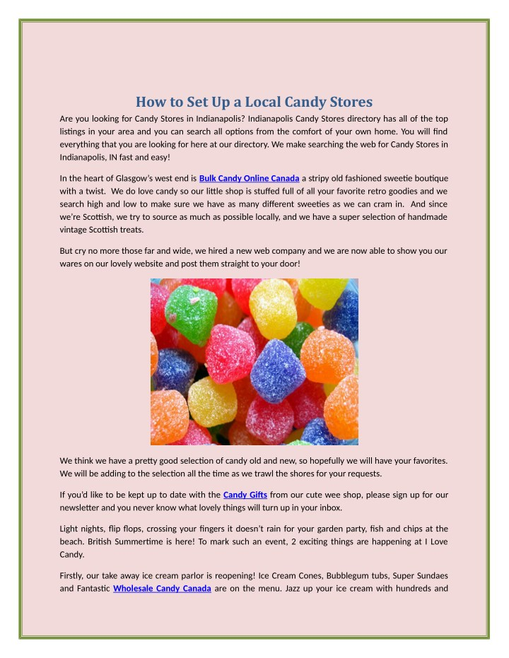 how to set up a local candy stores n.
