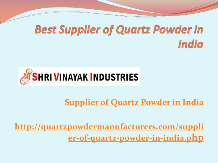 best supplier of quartz powder in india n.