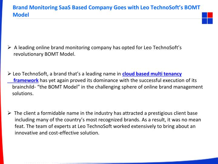 brand monitoring saas based company goes with leo technosoft s bomt model n.