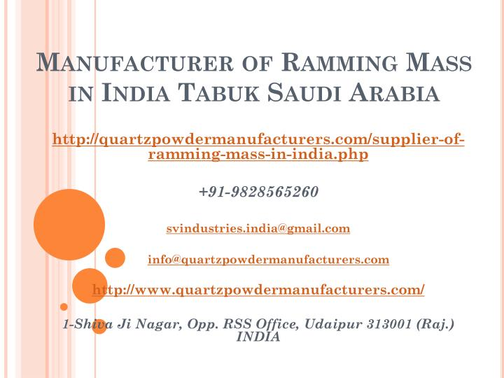 manufacturer of ramming mass in india tabuk saudi arabia n.