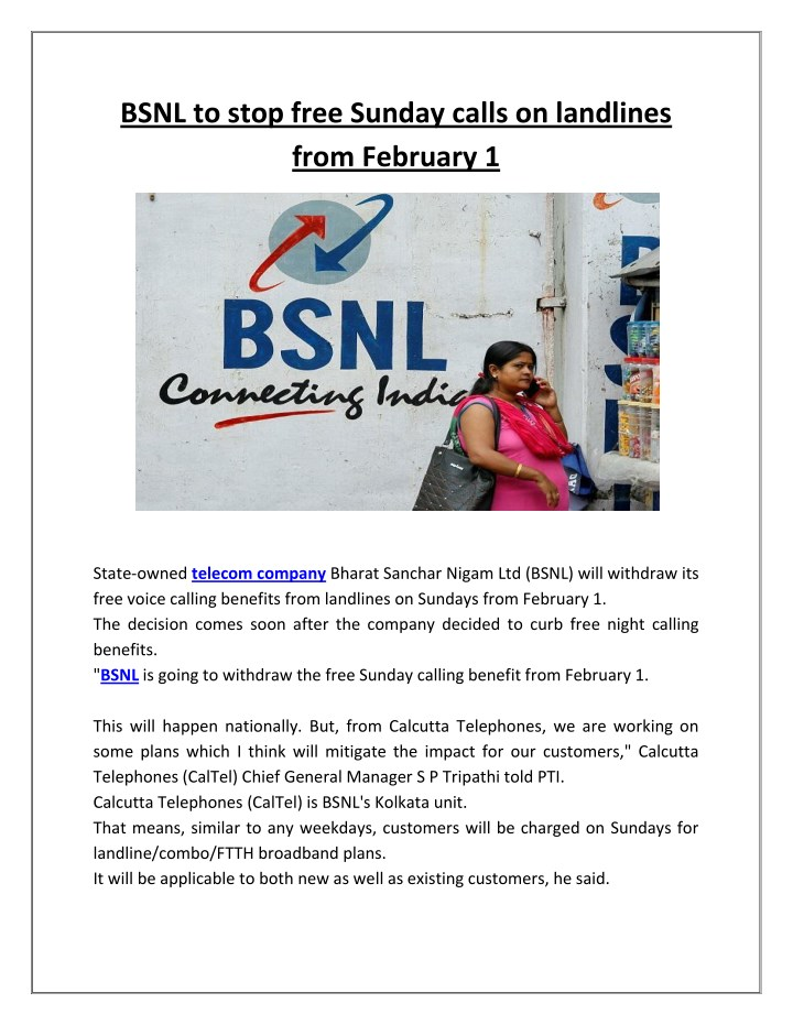 bsnl to stop free sunday calls on landlines from n.