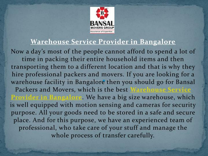 warehouse service provider in bangalore n.