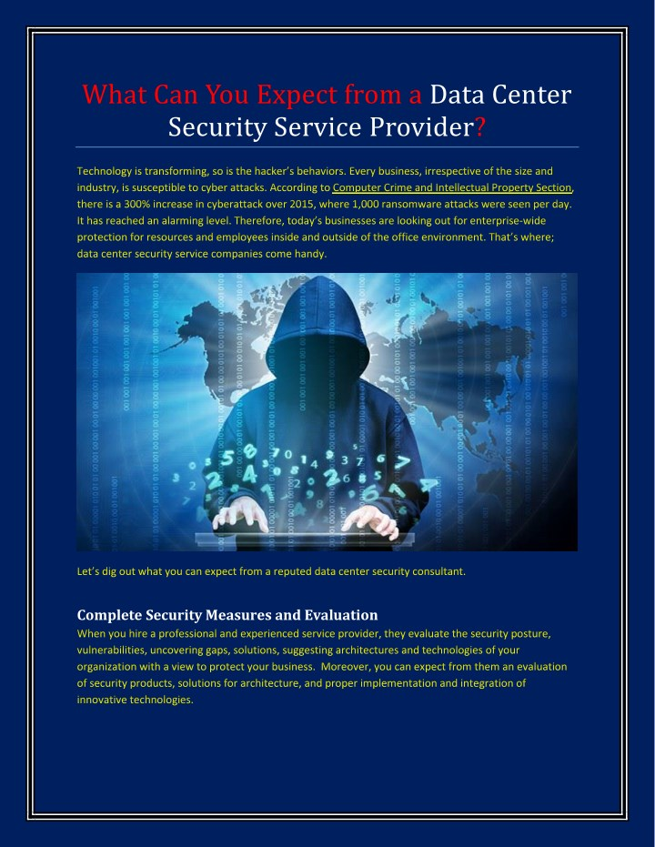 what can you expect from a data center security n.