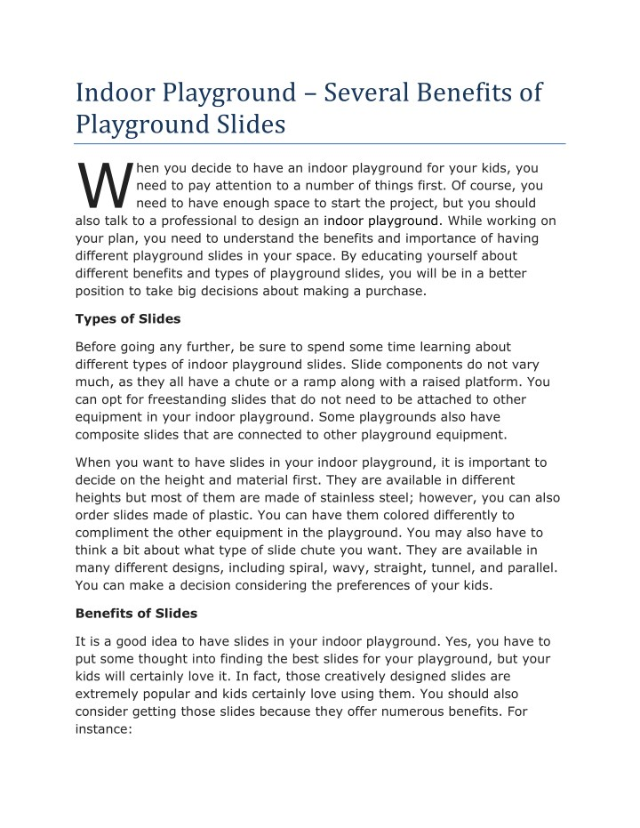 indoor playground several benefits of playground n.