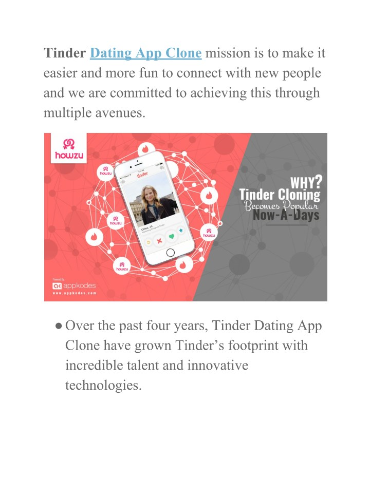 tinder dating app clone mission is to make n.