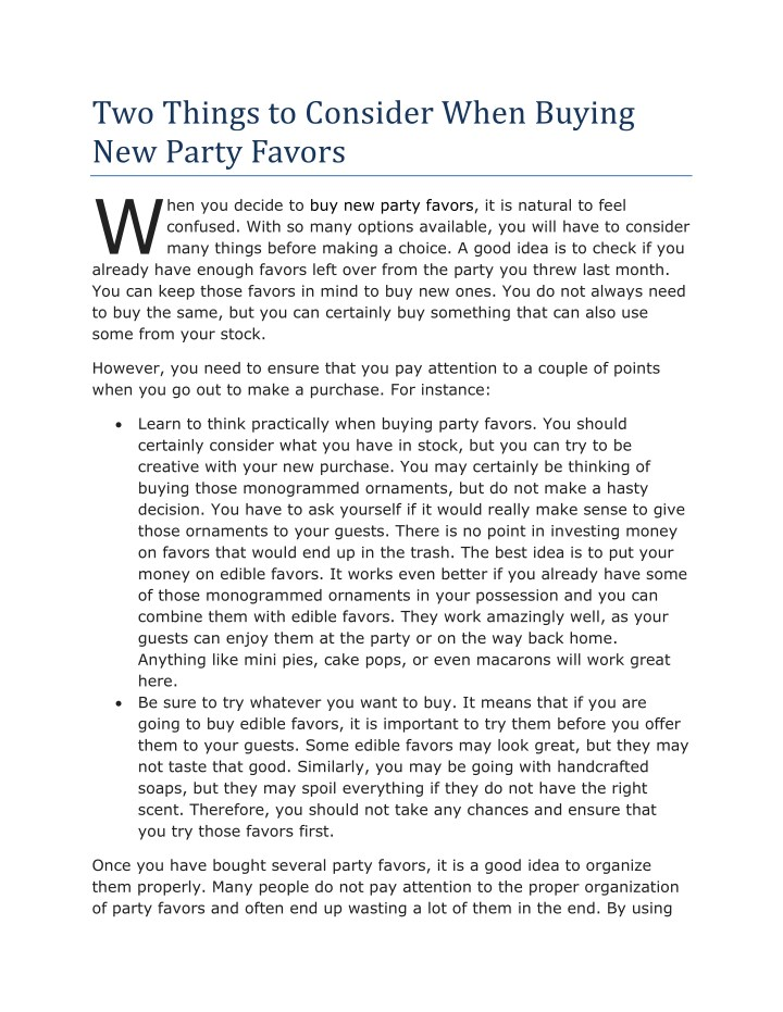 two things to consider when buying new party n.